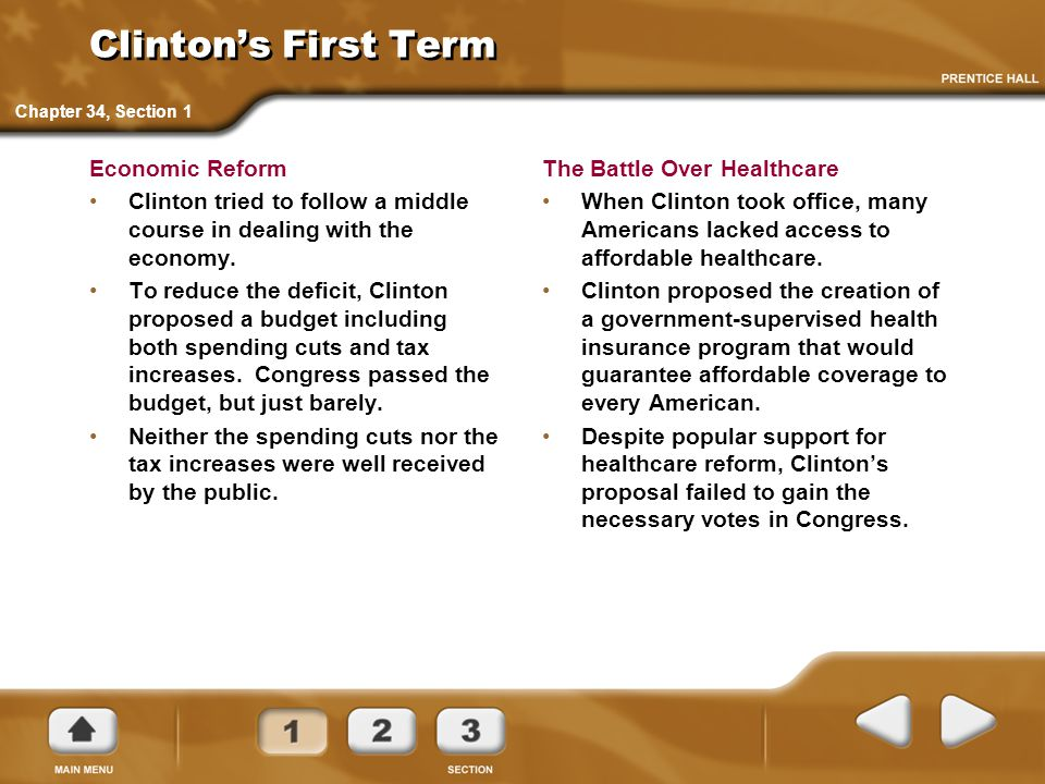 Clinton's First Term Economic Reform