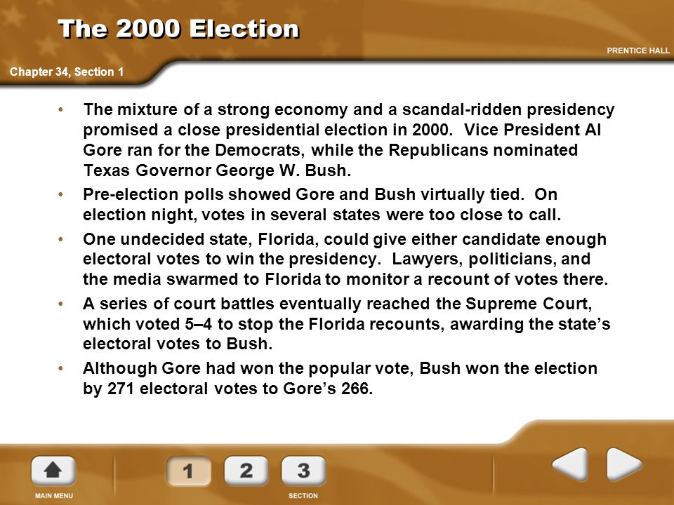 The 2000 Election Chapter 34, Section 1.