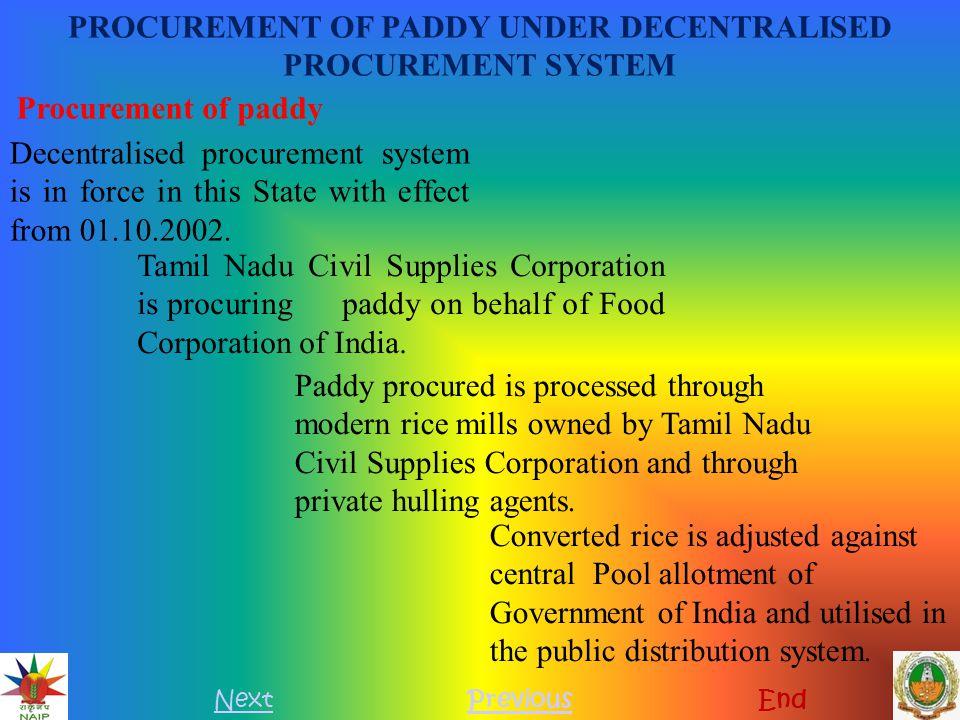 PROCUREMENT OF PADDY UNDER DECENTRALISED PROCUREMENT SYSTEM