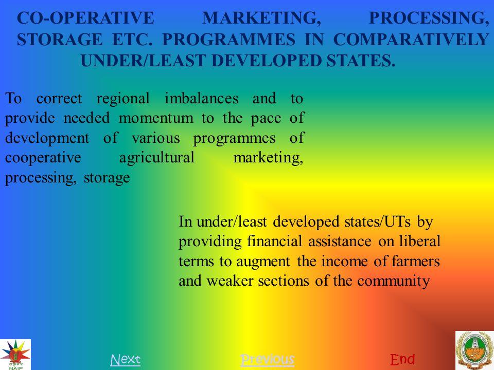 CO-OPERATIVE MARKETING, PROCESSING, STORAGE ETC
