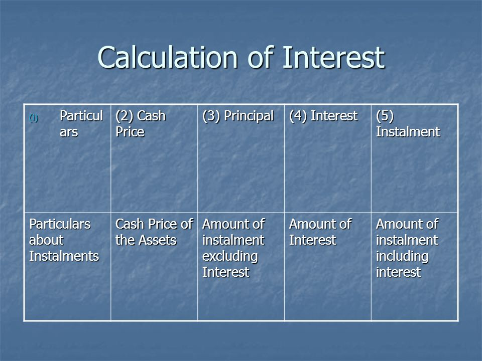 Calculation of Interest