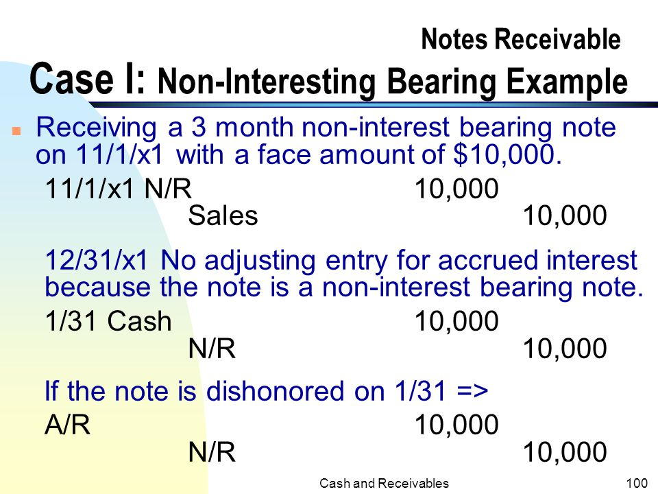 Notes Receivable Case I: Non-Interesting Bearing Example
