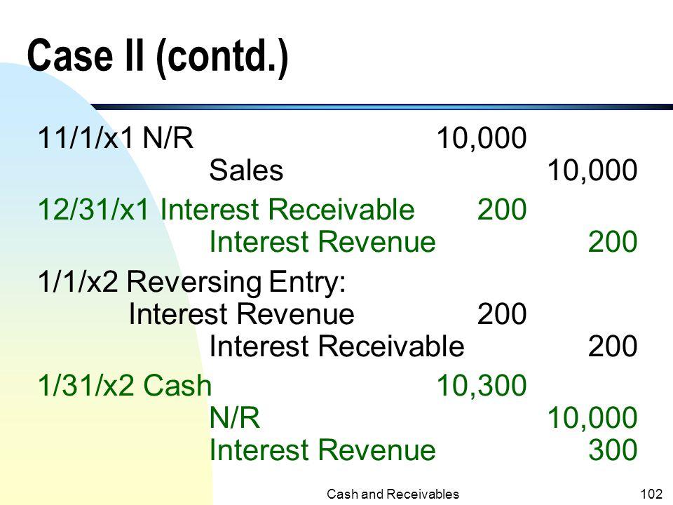 Case II (contd.) 11/1/x1 N/R 10,000 Sales 10,000