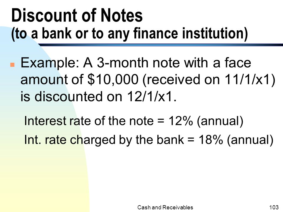 Discount of Notes (to a bank or to any finance institution)