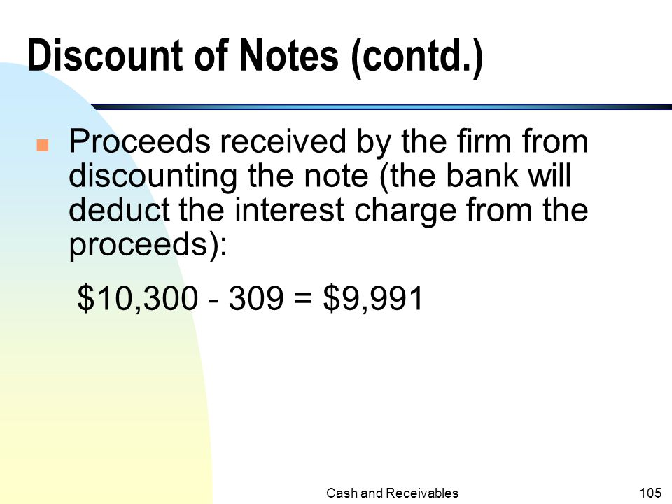 Discount of Notes (contd.)