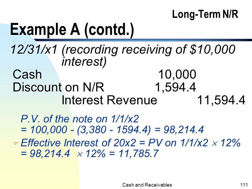 Long-Term N/R Example A (contd.)