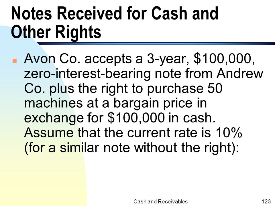 Notes Received for Cash and Other Rights