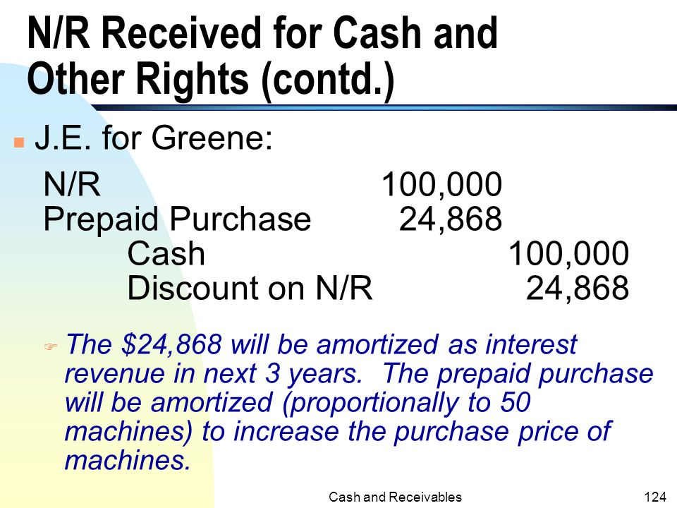 N/R Received for Cash and Other Rights (contd.)