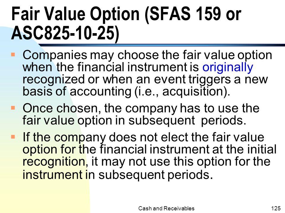 Fair Value Option (SFAS 159 or ASC825-10-25)