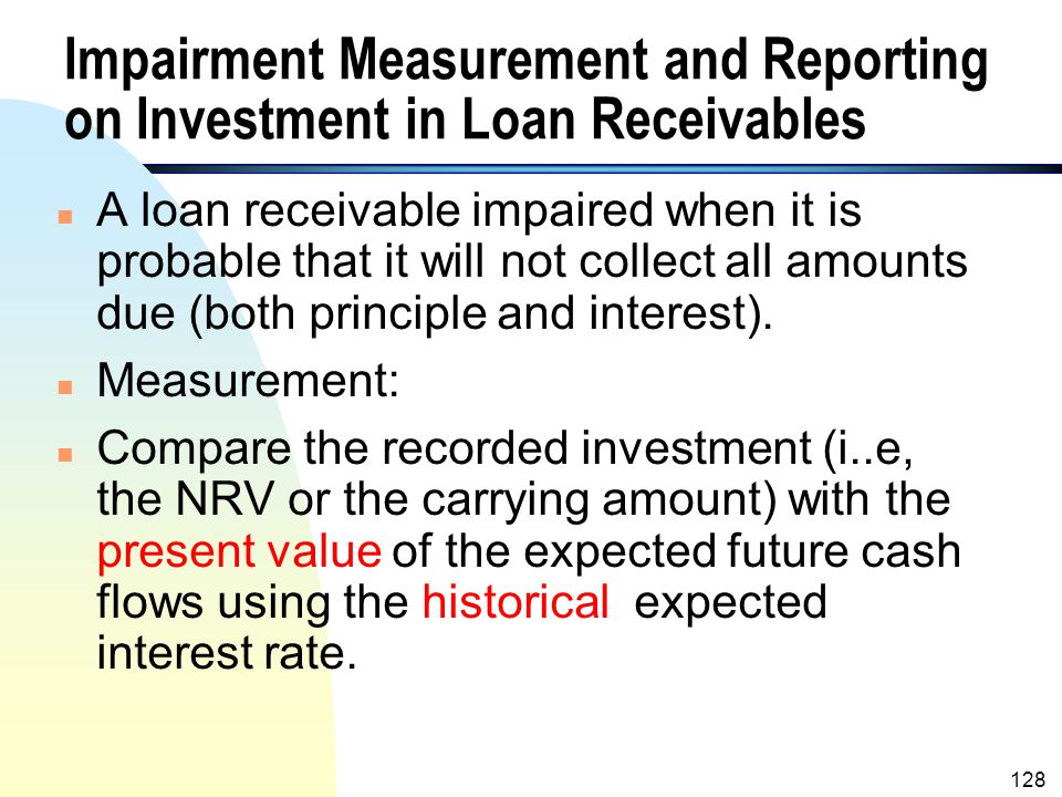 Impairment Measurement and Reporting on Investment in Loan Receivables