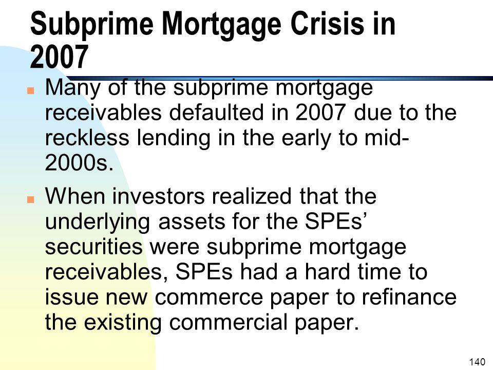Subprime Mortgage Crisis in 2007