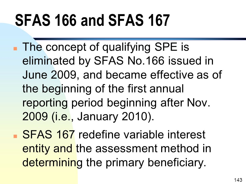 SFAS 166 and SFAS 167