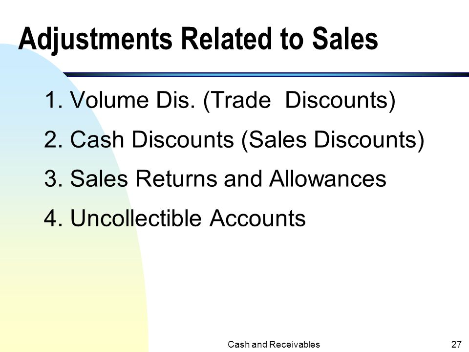 Adjustments Related to Sales
