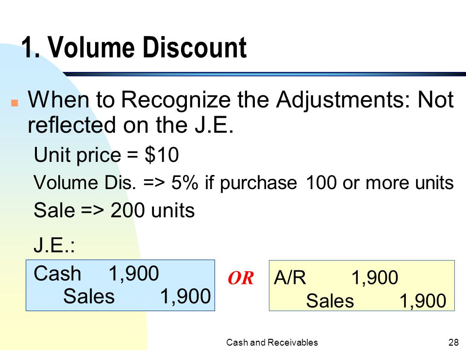 1. Volume Discount When to Recognize the Adjustments: Not reflected on the J.E. Unit price = $10. Volume Dis. => 5% if purchase 100 or more units.