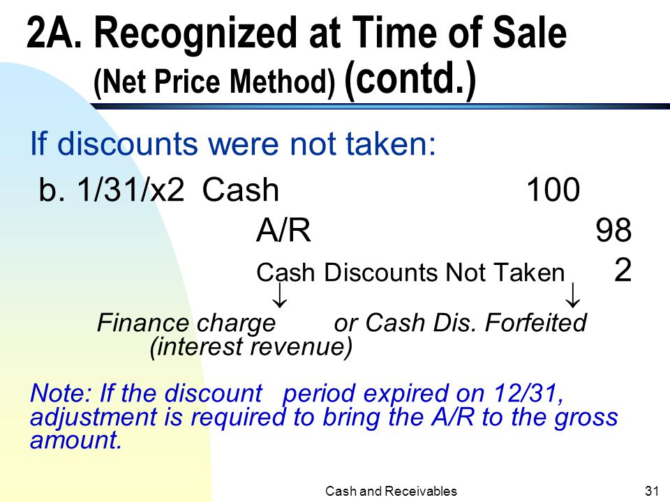 2A. Recognized at Time of Sale (Net Price Method) (contd.)
