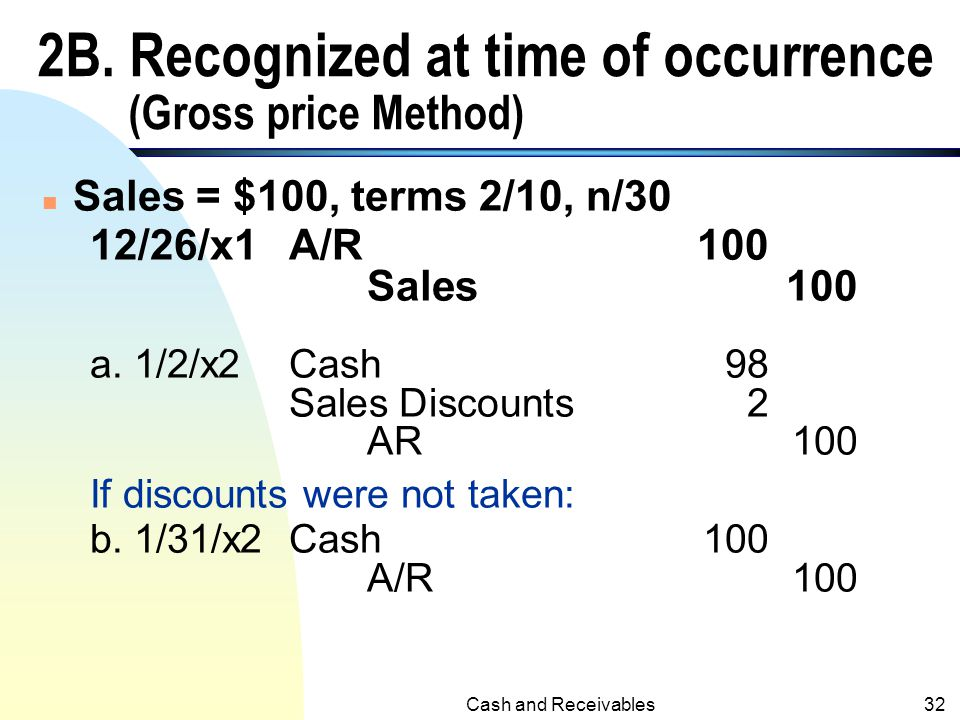 2B. Recognized at time of occurrence (Gross price Method)