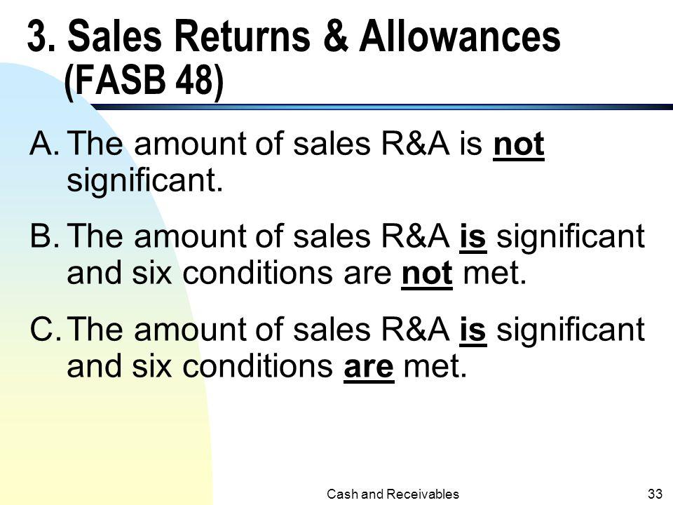 3. Sales Returns & Allowances (FASB 48)