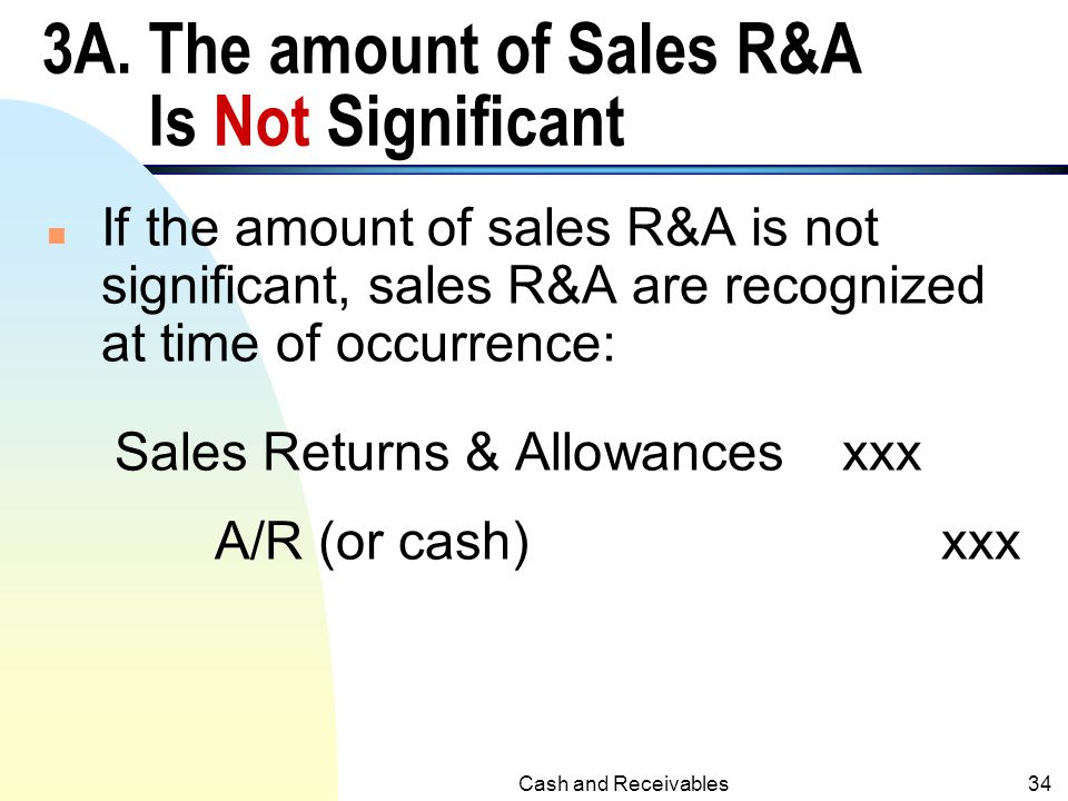 3A. The amount of Sales R&A Is Not Significant