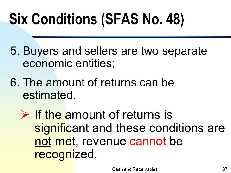Six Conditions (SFAS No. 48)