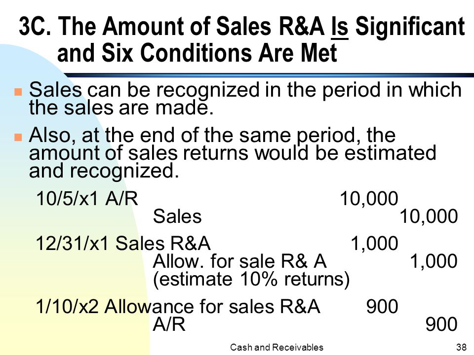 3C. The Amount of Sales R&A Is Significant and Six Conditions Are Met