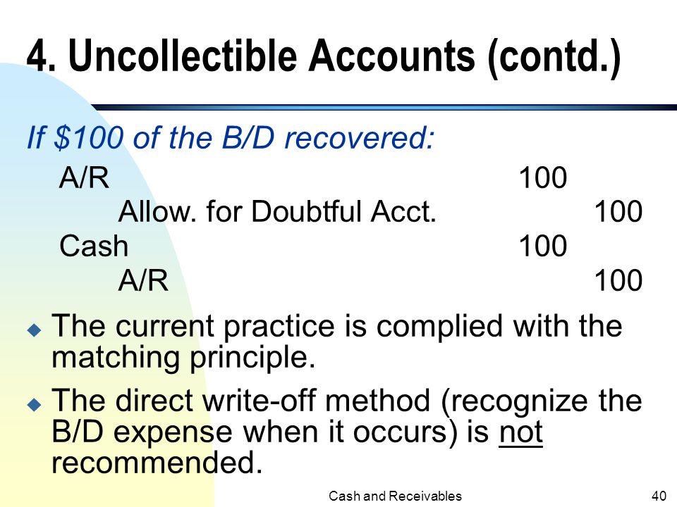 4. Uncollectible Accounts (contd.)