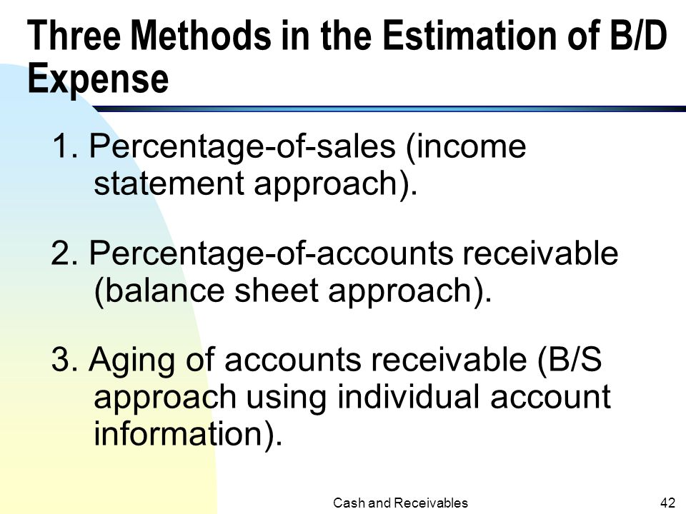 Three Methods in the Estimation of B/D Expense