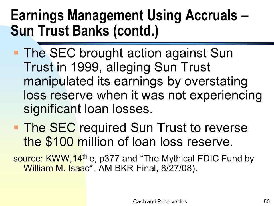 Earnings Management Using Accruals – Sun Trust Banks (contd.)
