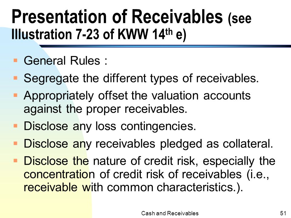 Presentation of Receivables (see Illustration 7-23 of KWW 14th e)