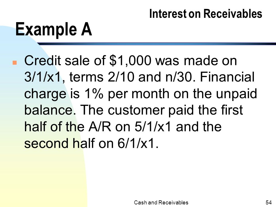Interest on Receivables Example A