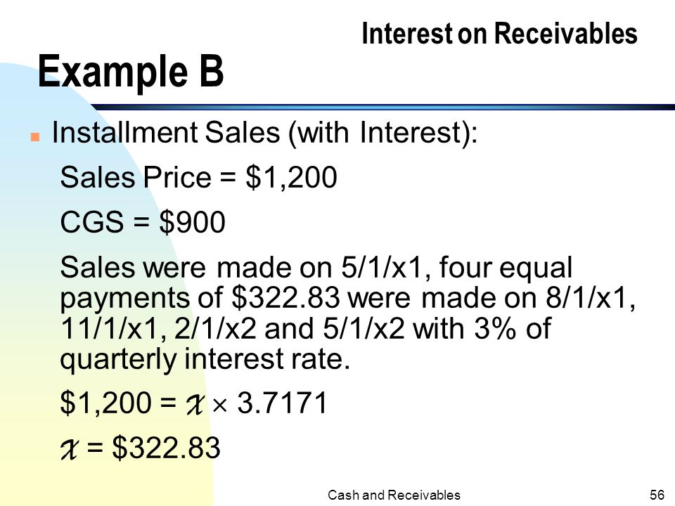 Interest on Receivables Example B