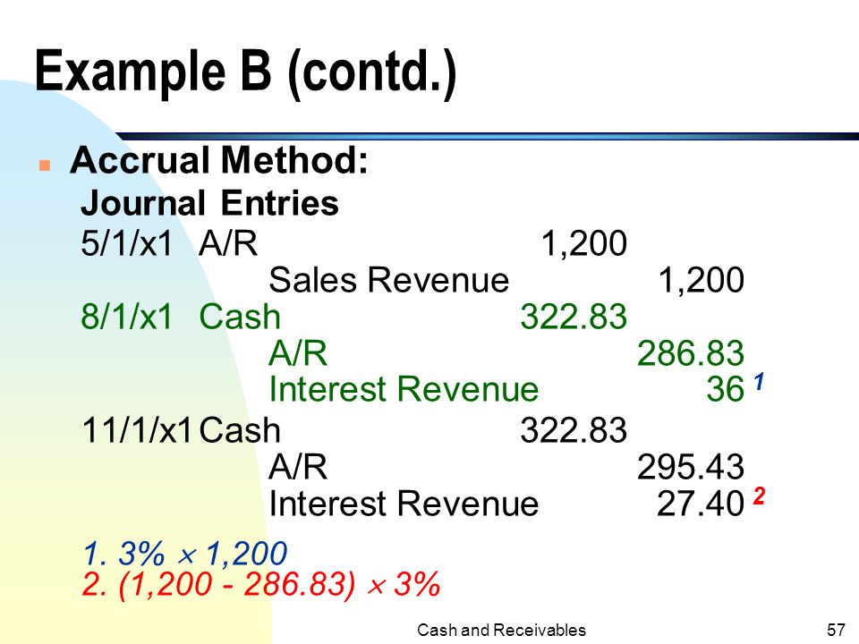 Example B (contd.) Accrual Method: Journal Entries 5/1/x1 A/R 1,200