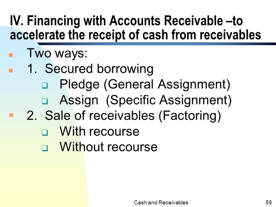 IV. Financing with Accounts Receivable –to accelerate the receipt of cash from receivables