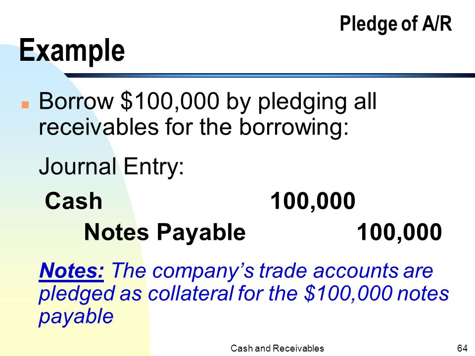 Borrow $100,000 by pledging all receivables for the borrowing: