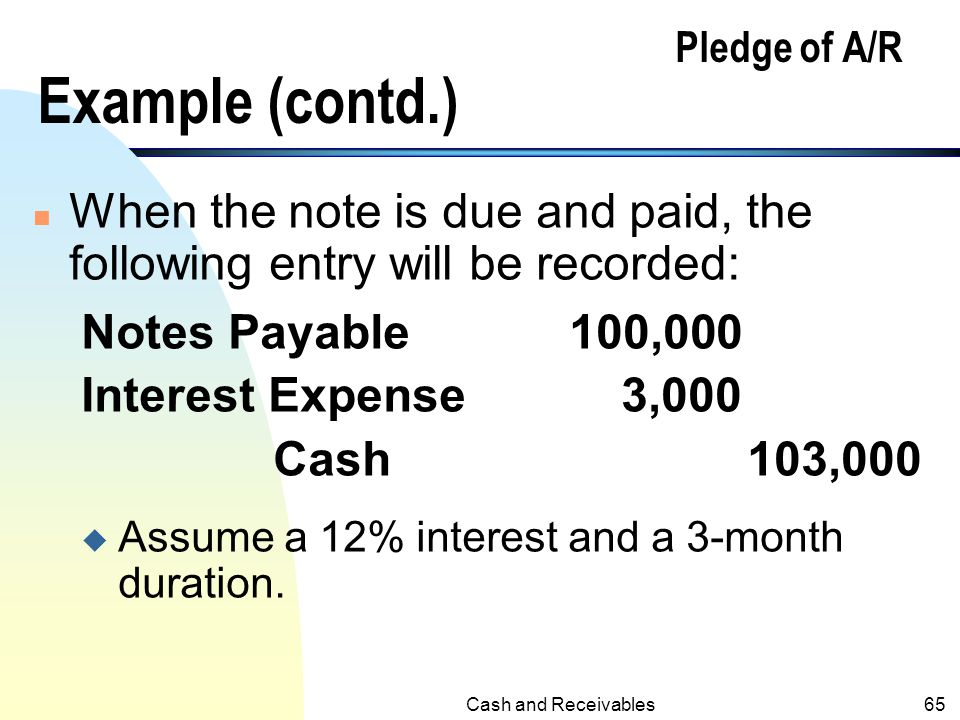 Pledge of A/R Example (contd.)