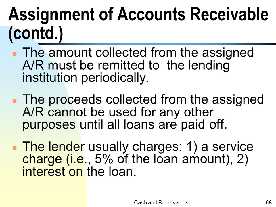 Assignment of Accounts Receivable (contd.)