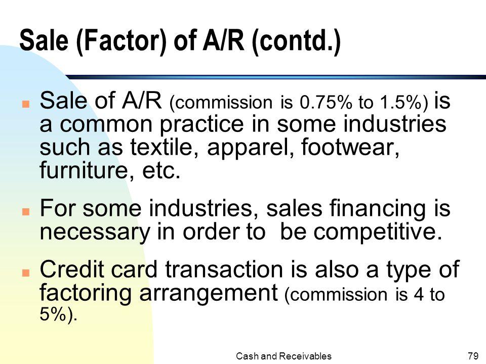 Sale (Factor) of A/R (contd.)