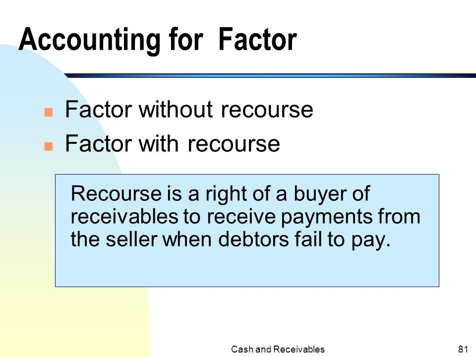 Accounting for Factor Factor without recourse Factor with recourse