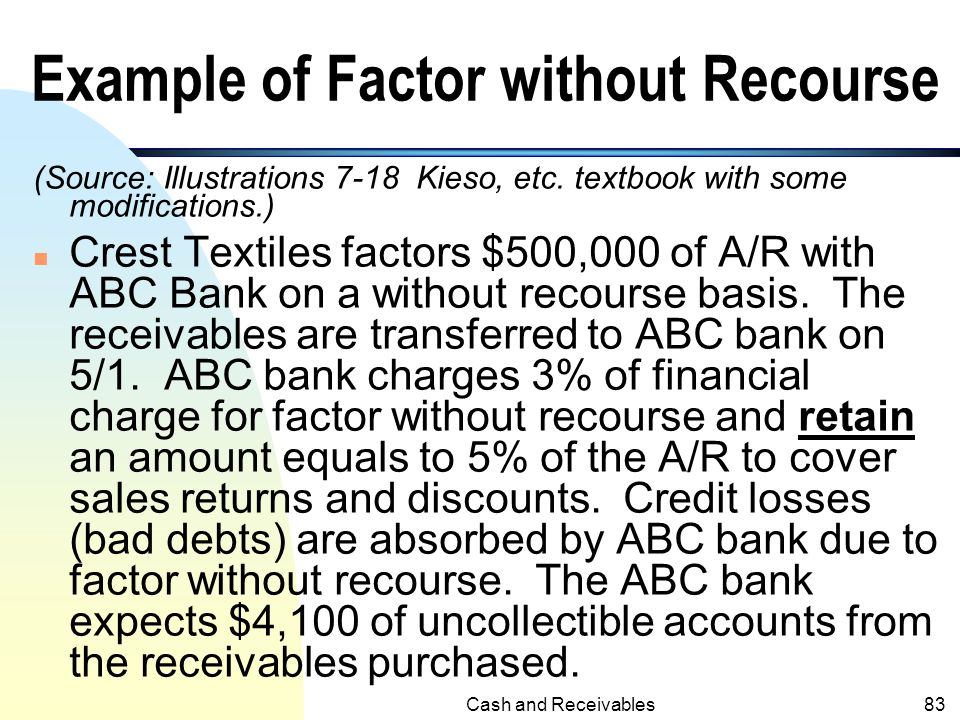Example of Factor without Recourse