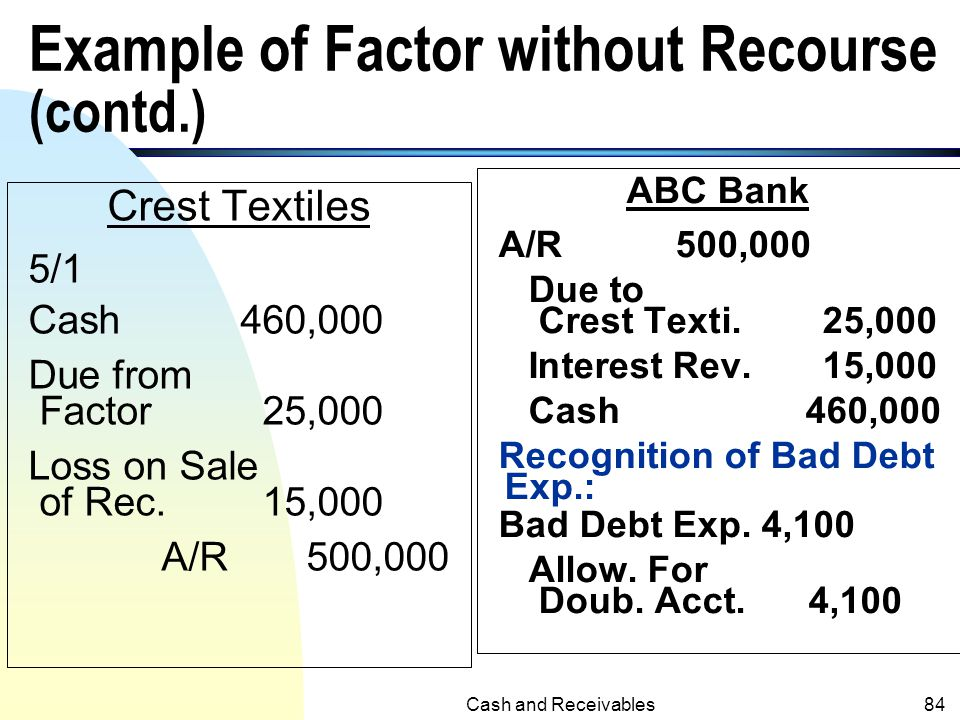 Example of Factor without Recourse (contd.)