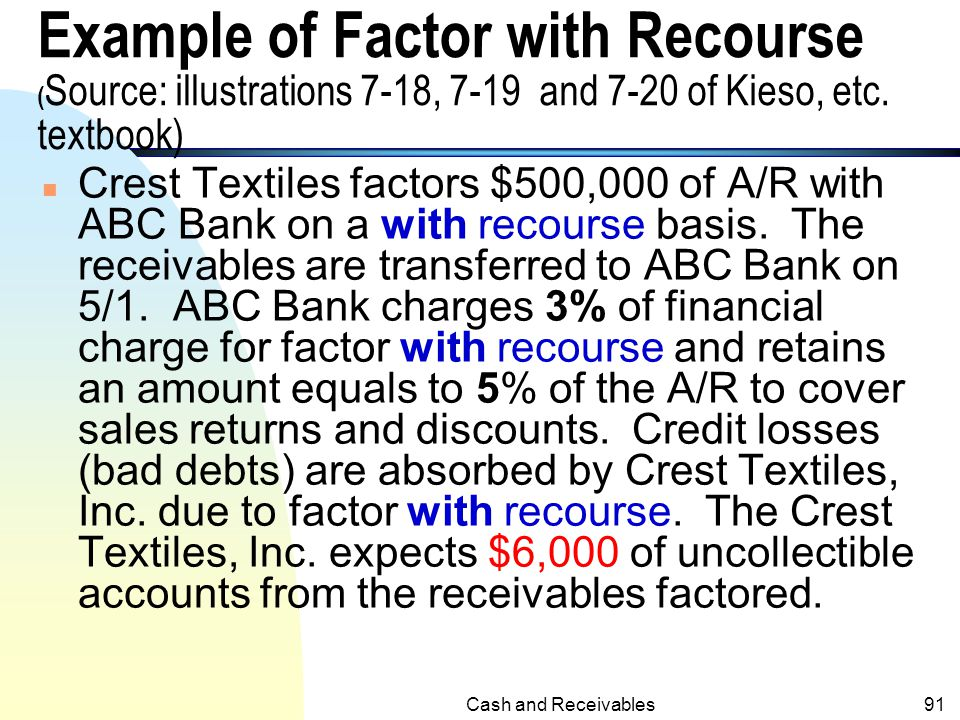 Example of Factor with Recourse (Source: illustrations 7-18, 7-19 and 7-20 of Kieso, etc. textbook)
