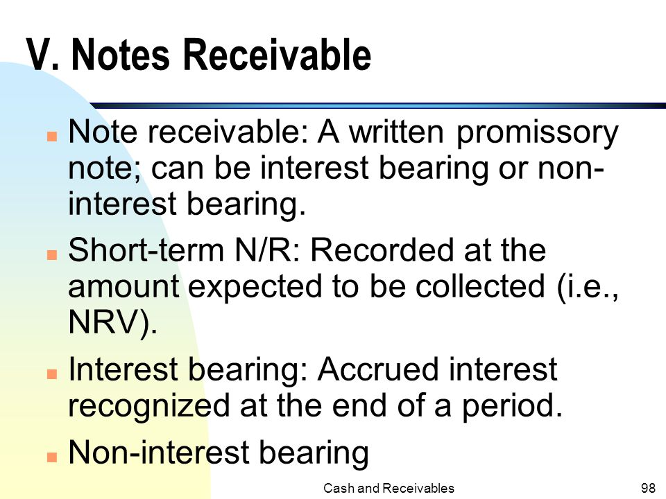 V. Notes Receivable Note receivable: A written promissory note; can be interest bearing or non- interest bearing.