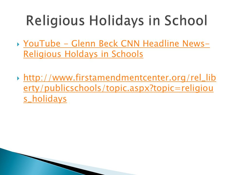 Religious Holidays in School