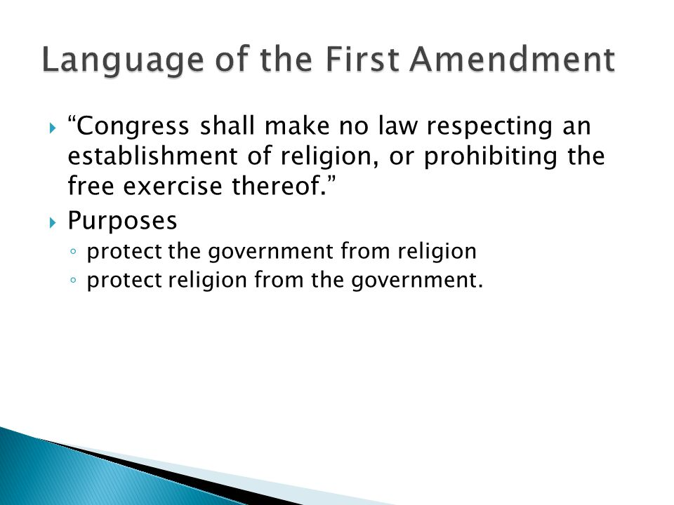 Language of the First Amendment