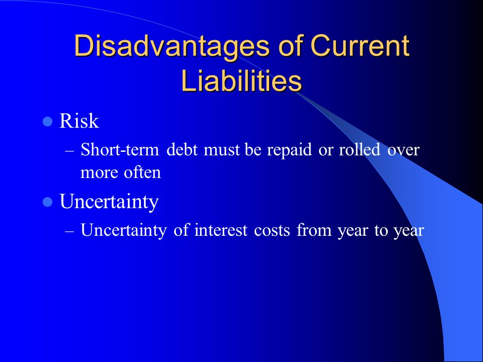 Disadvantages of Current Liabilities