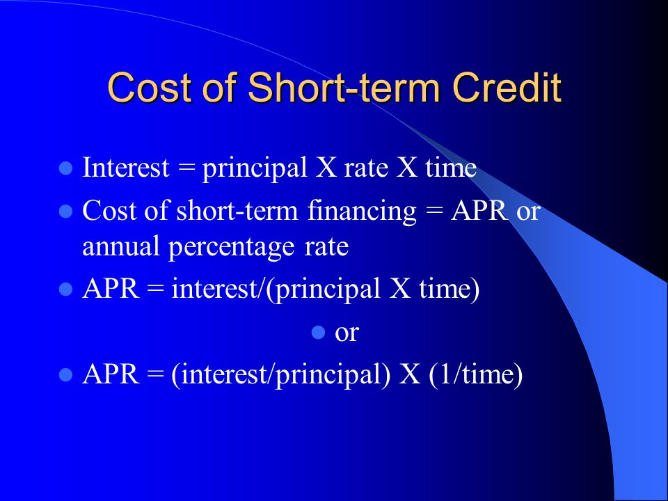 Cost of Short-term Credit