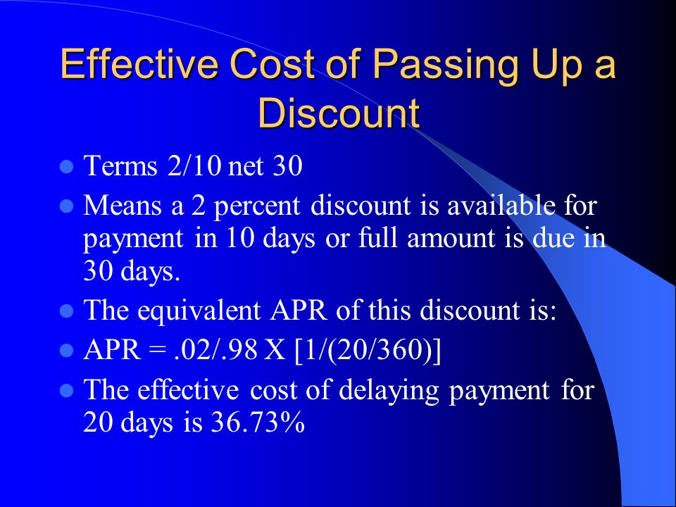 Effective Cost of Passing Up a Discount