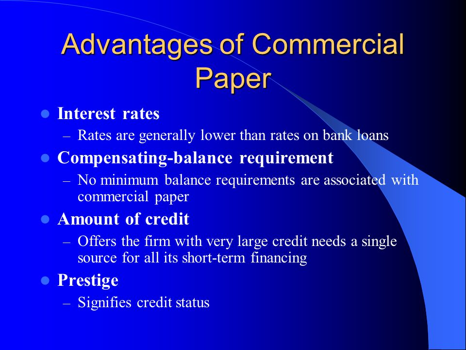 Advantages of Commercial Paper