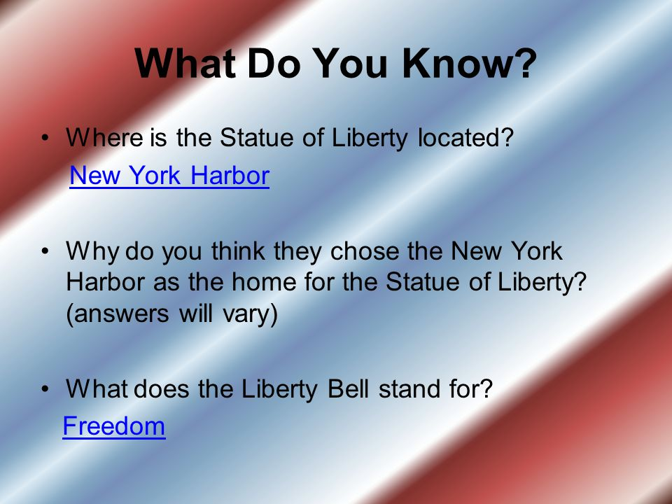 What Do You Know Where is the Statue of Liberty located