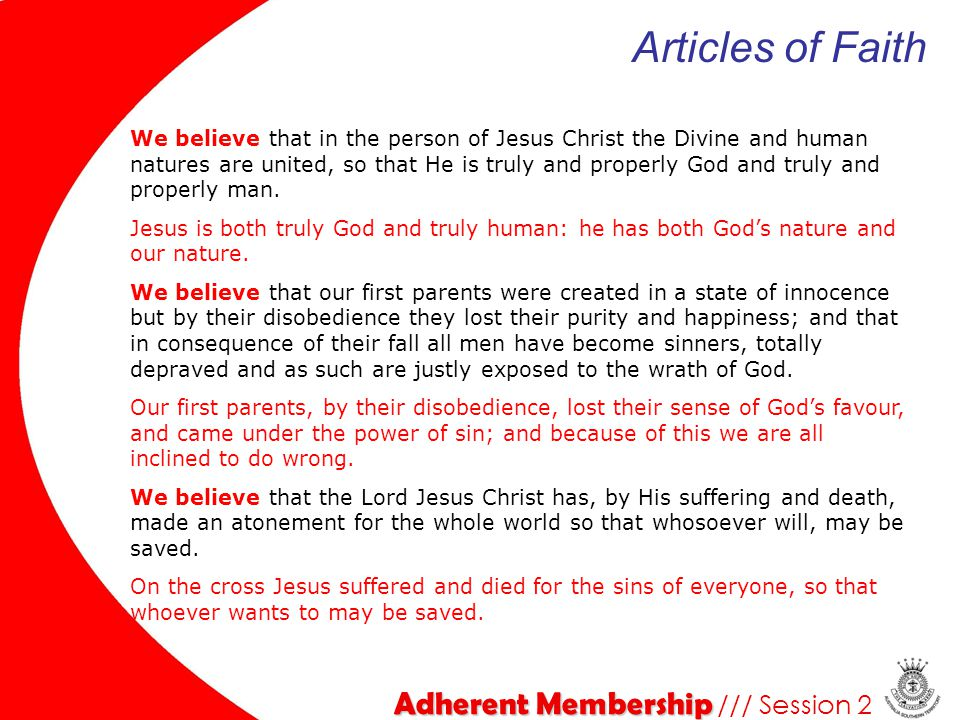 Articles of Faith Adherent Membership /// Session 2