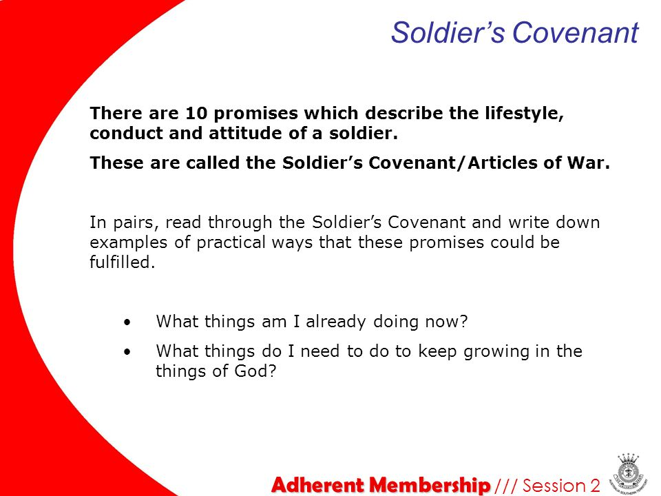 Soldier's Covenant Adherent Membership /// Session 2